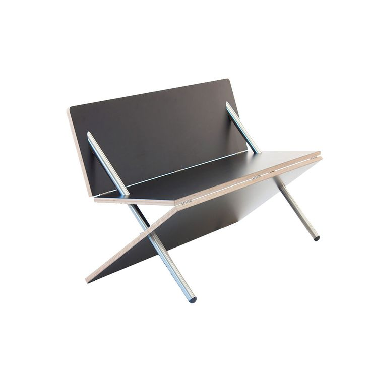 """caprapanca"" is a folding bench formed by three hinged panels transfixed by two steel pipes."