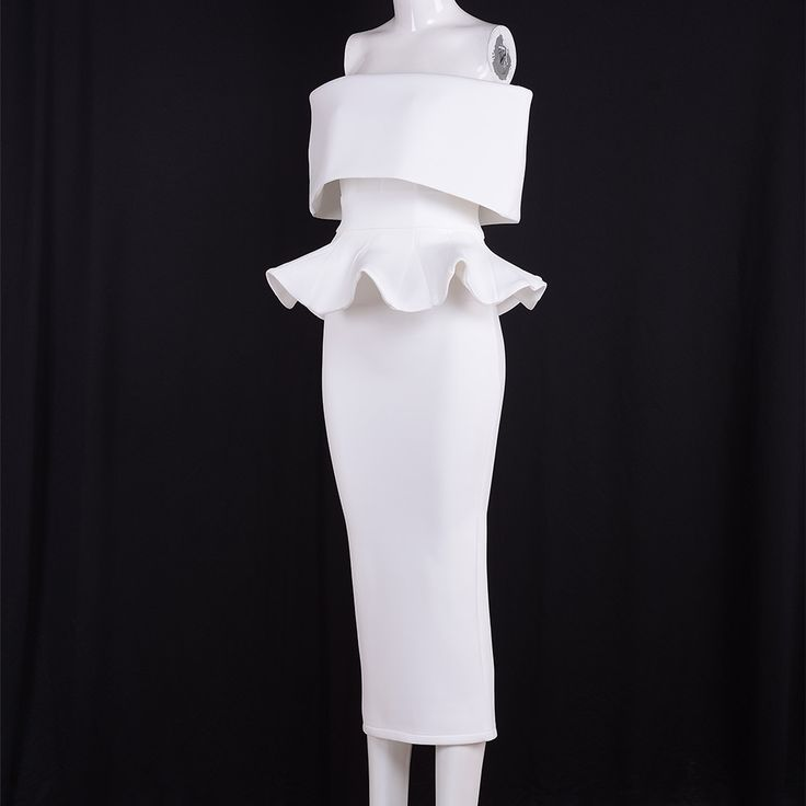 Seamyla Branco Elegante Vestidos de Moda de Nova Mid Calf Ruffles Vestidos de Festa de Noite Das Mulheres Sexy Strapless Bodycon Vestido de Verão 2017 em Vestidos de Das mulheres Roupas & Acessórios no AliExpress.com | Alibaba Group