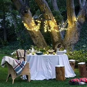 Mood lighting for a romantic al fresco dinnerIdeas, Fairies Lights, Dinner Parties, String Lights, Outdoor Spaces, Gardens Parties, Dinner Tonight, Backyards, Romantic Dinner