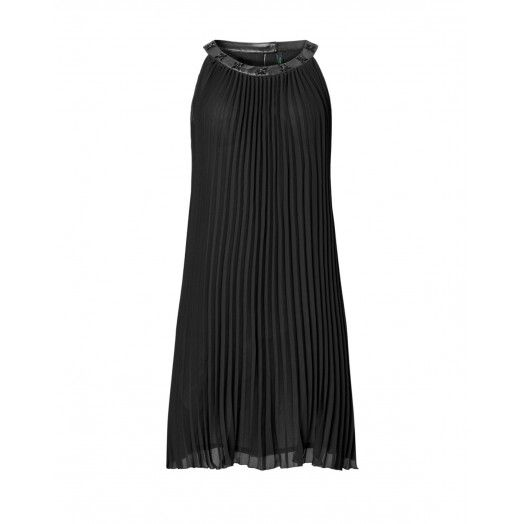Dress, sleeveless, with thin straps open back. Slightly flared. Pleated. Crew neck made of satin with small stone applique.