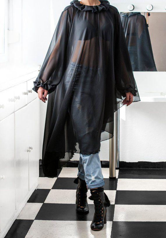 4e69aa57957 Black Maxi Tunic Asymmetrical top Tunic maxi tunic cover Cherry Blossom  Dress