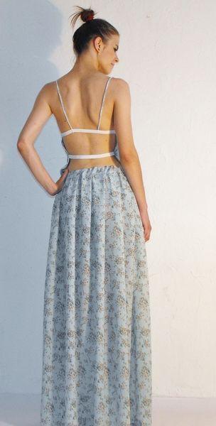 Maxi,długa  błękitna sukienka,gumki,komplet,zestaw w SOSnaszyjesmacznie na DaWanda.com