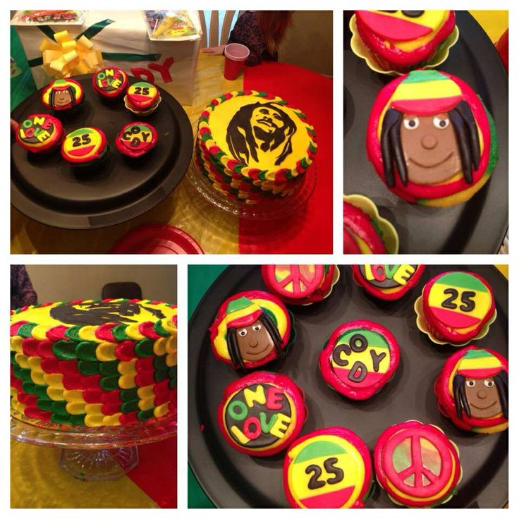 "Bob Marley cake and cupcakes. Red, yellow and green frosting. Marley silhouette on top of the cake. Fondant cupcake toppers include peace signs, name and age, ""one love"" and faces"