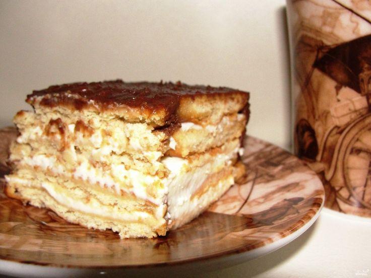 Торт без выпечки из печенья с твороженным кремом