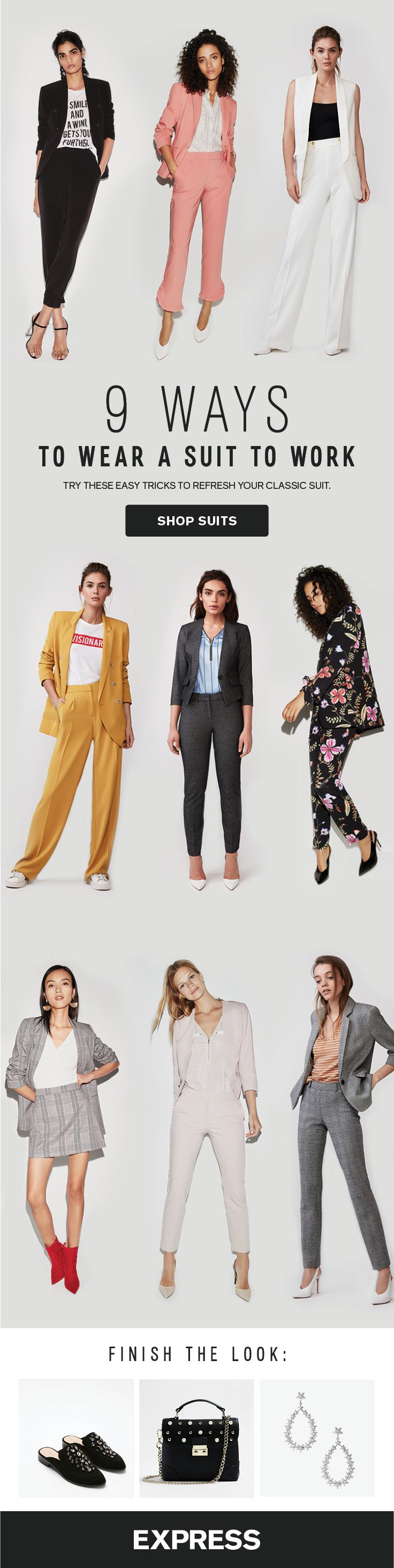 A classic women's suit is a staple for any boss babe's closet, but suits for women can easily get stale. Mix it up with bright colors, bold stripes, and floral patterns for work outfits. Add accessories like red booties for women and statement earrings to step up your suit style this spring.