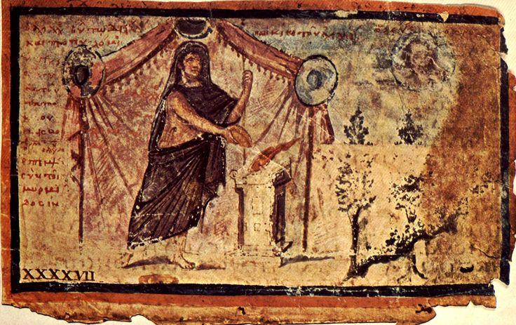 Achille offrse sacrifici a Zeus, dall'Iliade Ambrosiana