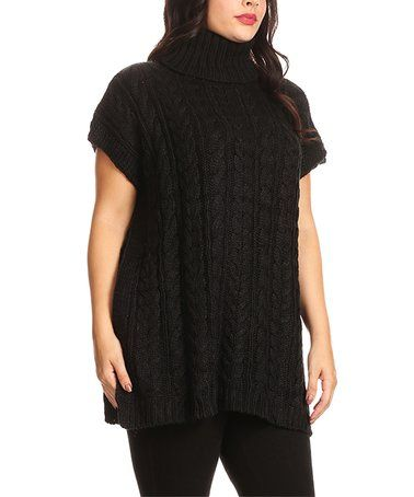 Love this Black Side-Slit Turtleneck - Plus size fashion sweater fall fashion daily deals sales Plus on #zulily! #zulilyfinds #ad
