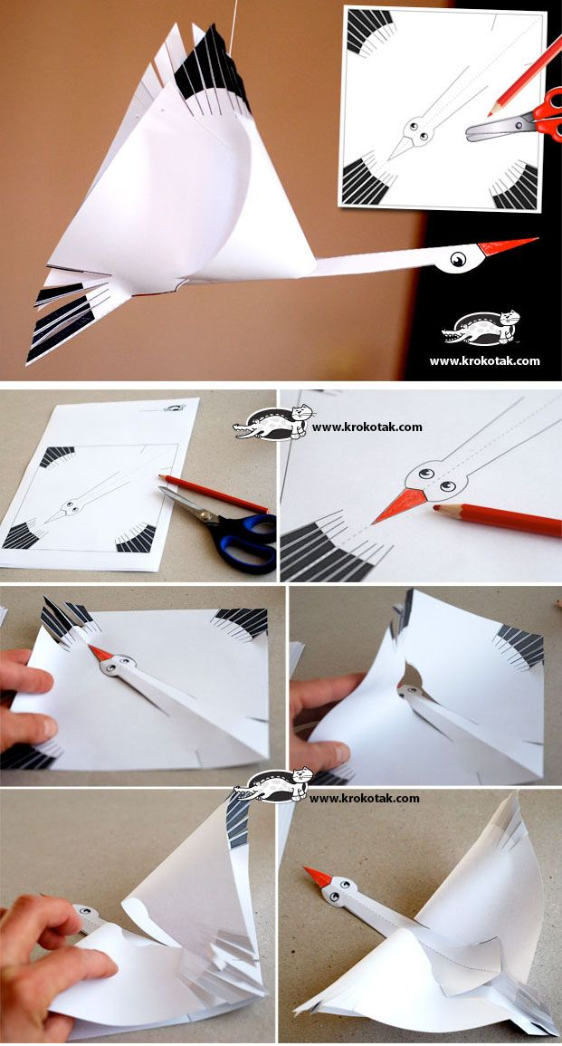 PAPER STORK + Template _use this as an example - kids draw their own birds cut and assemble as shown