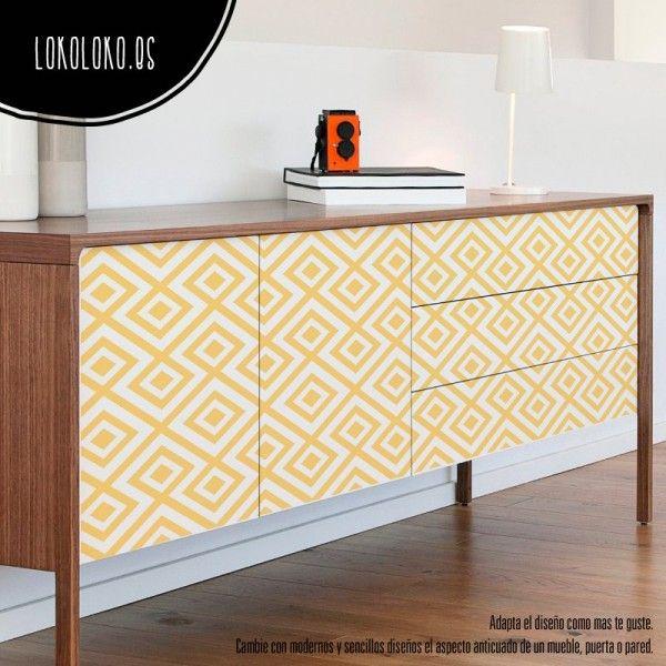 puertas de muebles con vinilos de patrones amarillos