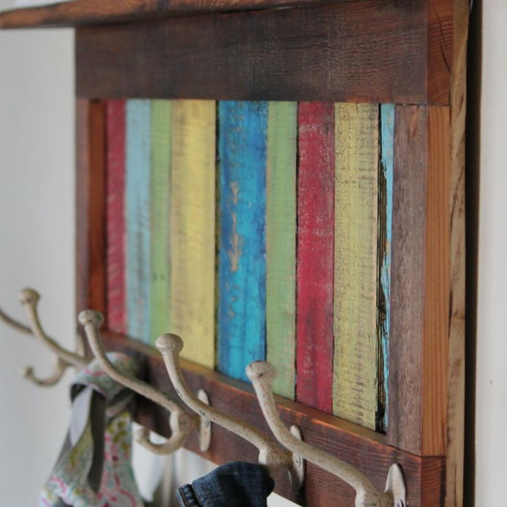 Reclaimed, Pallet Wood Coat Hook and Shelf, this will go over my shoe rack bench :)