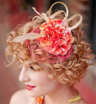 Fascinator wedding hat SALMON FLOWERS by FascinatorsFirst on Etsy, $39.00