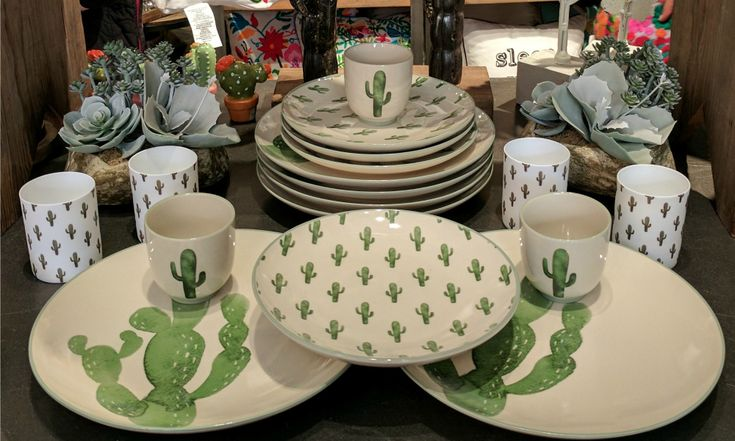 Cacti in the home and cactus print have quickly become a favorite... Check out this Bloomingville Cactus Dinnerware Set from Maverick Fine Western Wear...