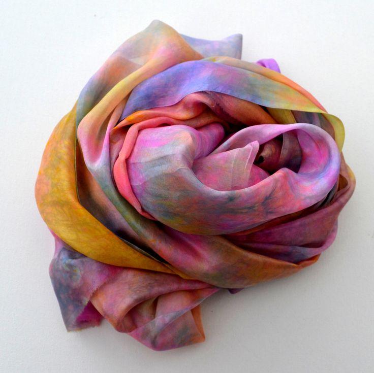 Unhemmed, Hand dyed Silk Gauze, Wrap, Hand dyed Silk, Nuno felting, Silk fabric, Silk, Ready to Ship, Make your Own,  74 x 22 inches U19 by SallyAnnesSilks on Etsy https://www.etsy.com/au/listing/486183865/unhemmed-hand-dyed-silk-gauze-wrap-hand