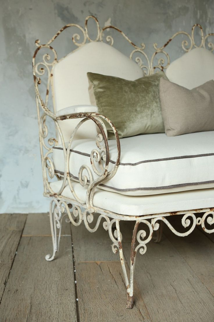 Antique Iron Chairs Outdoor Part - 29: This Antique Iron Bench With Cushions Is Perfect Anywhere, Indoors Or  Outdoors.