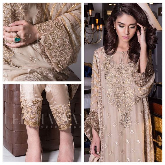 Pakistani Dress- Pearl Embrioded Short Shirt with Cigarette Pants, Powder Pink/Gold