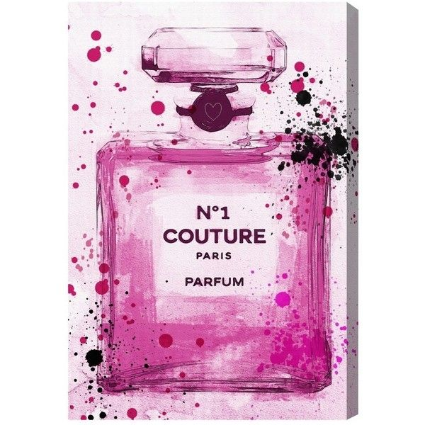 Oliver Gal Runway Avenue 'Couture Parfum Pink' Canvas Art ($79) ❤ liked on Polyvore featuring home, home decor, wall art, art, pink, filler, pink flamingo home decor, framed canvas wall art, rectangular wall art and pink home decor