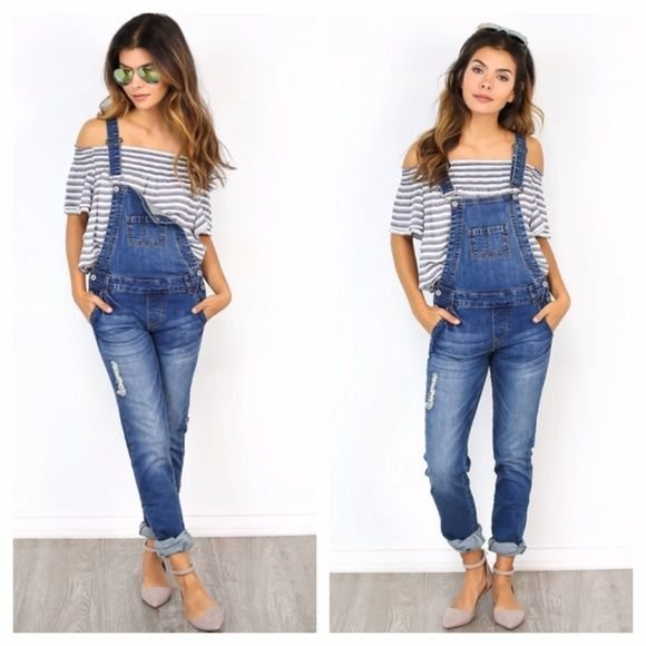 Stitch Up Long Overalls - Small Worn only once. Item was purchased from an upscale boutique. 98% cotton. 2% spandex. In brand new condition. Jeans Overalls