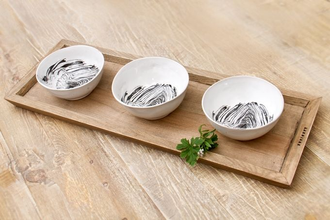 Tapas tray & 3 tapas bowls  by Lardiere Fine Foods
