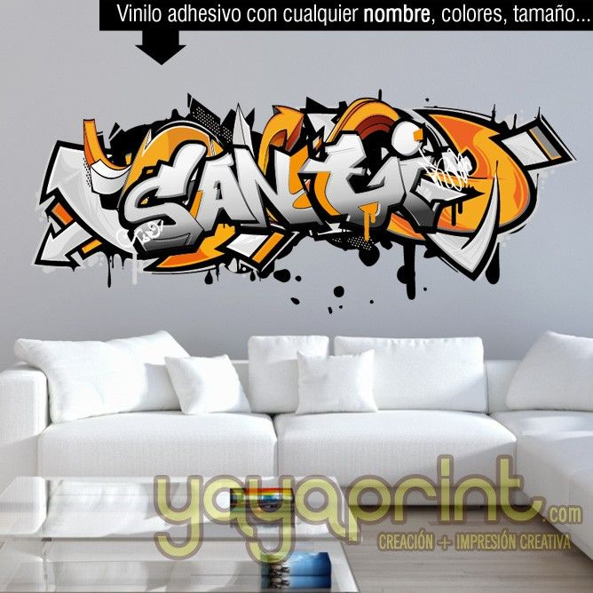 233 best graffiti nombre decoraci n habitaci n dormitorio for Mural habitacion juvenil