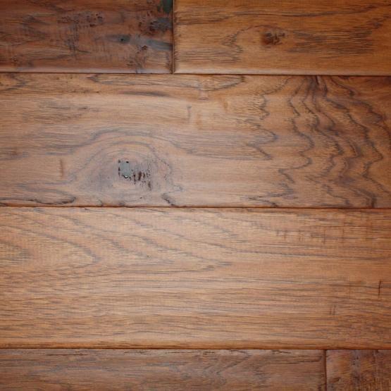 """Hickory Gunstock 3/8 x 5"""" Hand Scraped Engineered Hardwood Flooring"""
