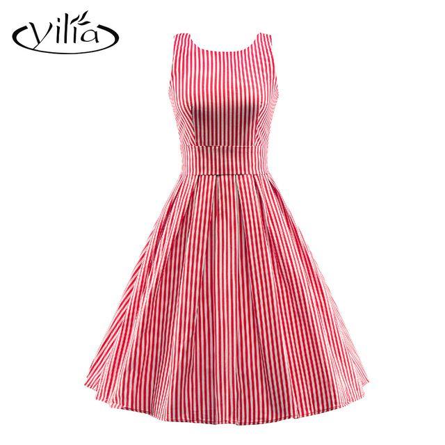 Yilia Simple Classique 50 s Vintage Rouge Bleu Rayé Femmes Robe D'été Sans Manches Large Ceinture Slim Retour V Midi Robes