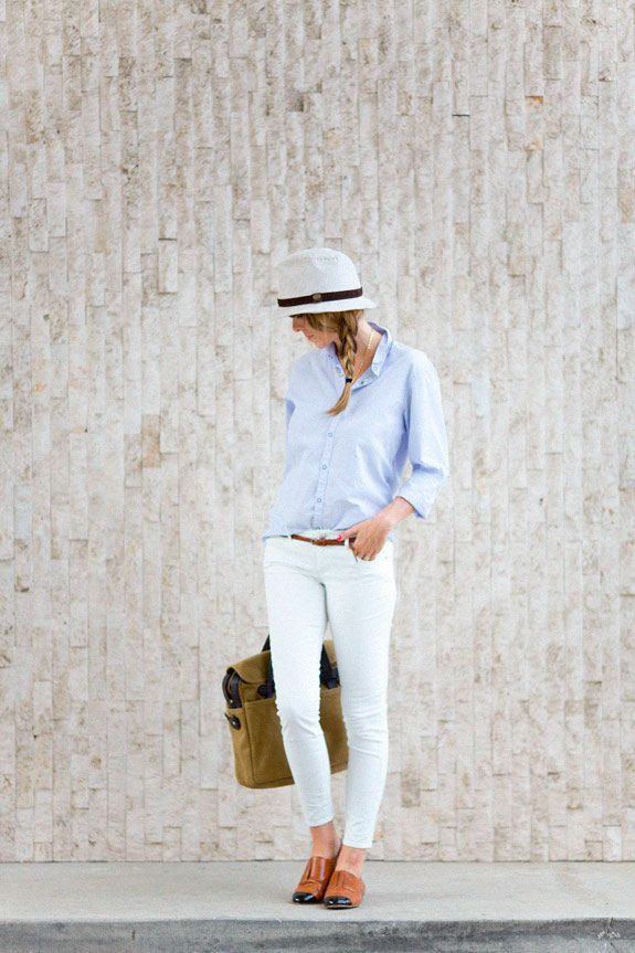 Summer casual, white jeans, hat