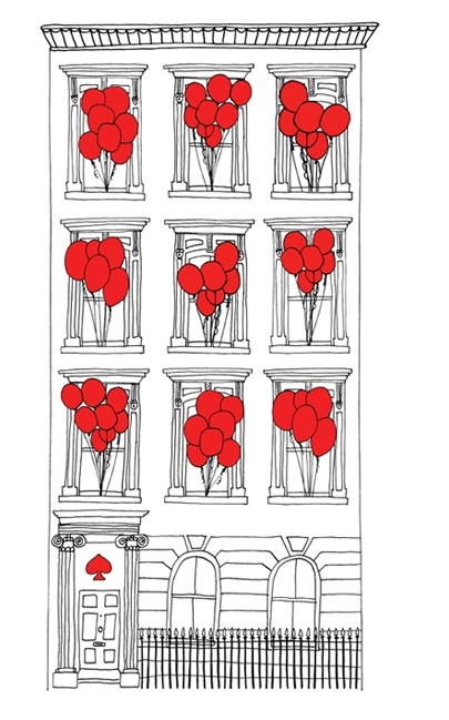 an illustration by katie evans for the kate spade new york london pop up shop
