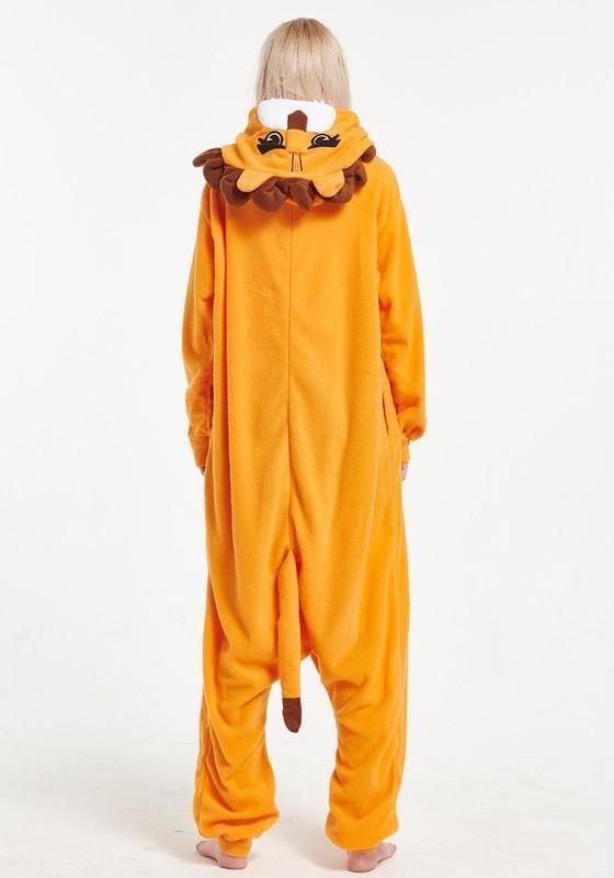 ae5f6c4fc55a Orange Animal Lion Pockets Buttons Oversize Cosplay Onesie Pajamas Long  Jumpsuit