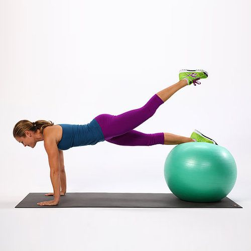 This exercise not only adds lift to your tush but will also tone your core and upper body.  Lie your belly onto an exercise ball, and walk your hands out until the ball is under your shins. Your hands should be directly under your shoulders.  Draw your navel toward your spine to engage your abs and stabilize your torso. Lift your left leg up, squeezing your glute, then slowly lower your leg back onto the ball. Switch sides and lift the right leg, keeping your pelvis square. This counts as…