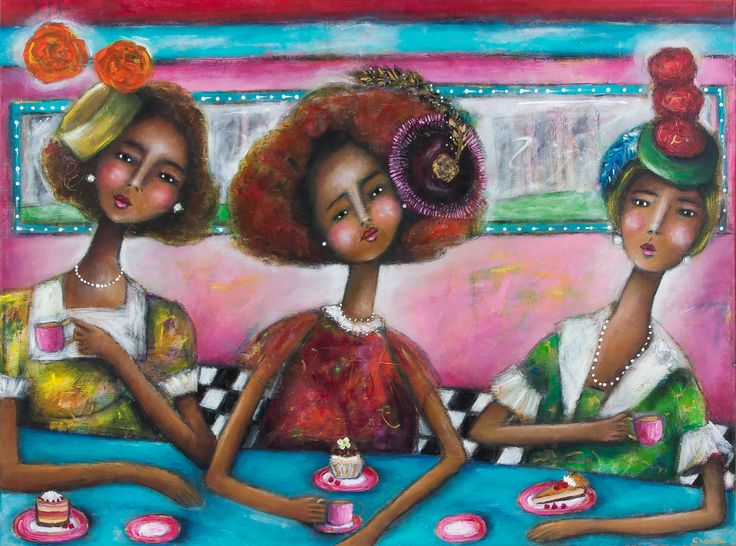 """""""Pearls Diner"""" mixed media painting by Sharon Harkness-Dobler"""