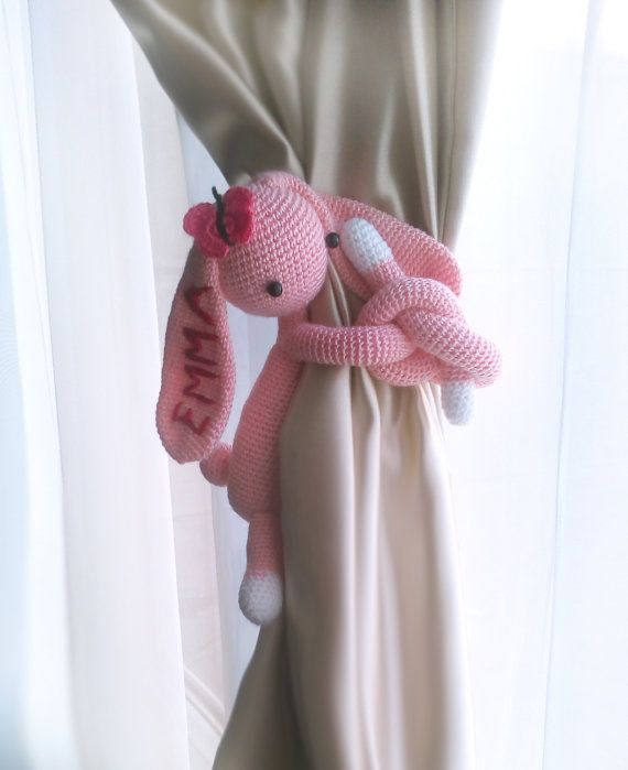 Curtain tie back,Personalized,Bunny curtain tie back,1 pcs,Nursery…