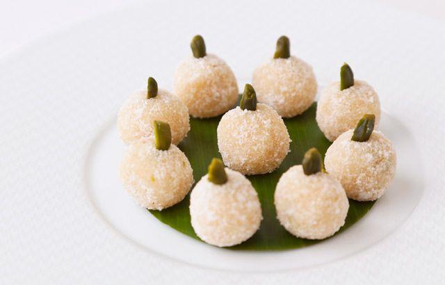 Coconut-pistachio snowballs by Vineet Bhatia -- four ingredients