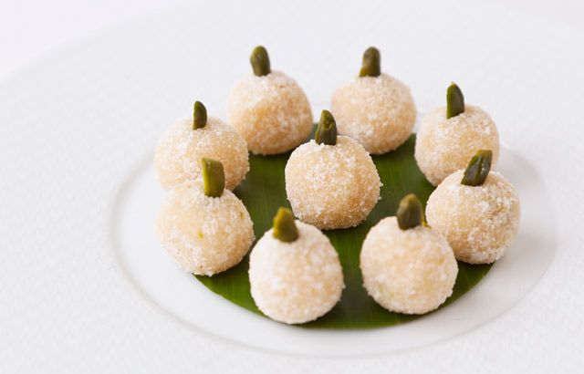 Coconut-pistachio snowballs by Vineet Bhatia -- four ingredients