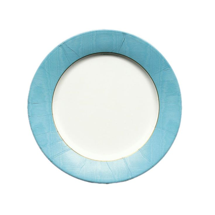 Moiré Paper Salad & Dessert Plates in Mediterranean Blue - 8 Per Package | Caspari Palette Collection | Featured | Tabletop | Caspari