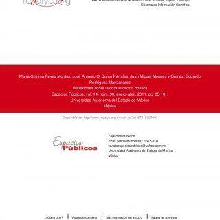 Disponible en: http://www.redalyc.org/articulo.oa?id=67618934007 Red de Revistas Científicas de América Latina, el Caribe, España y Portugal Sistema de Info. http://slidehot.com/resources/reflexiones-sobre-counicacion-politica-vvaa.33033/
