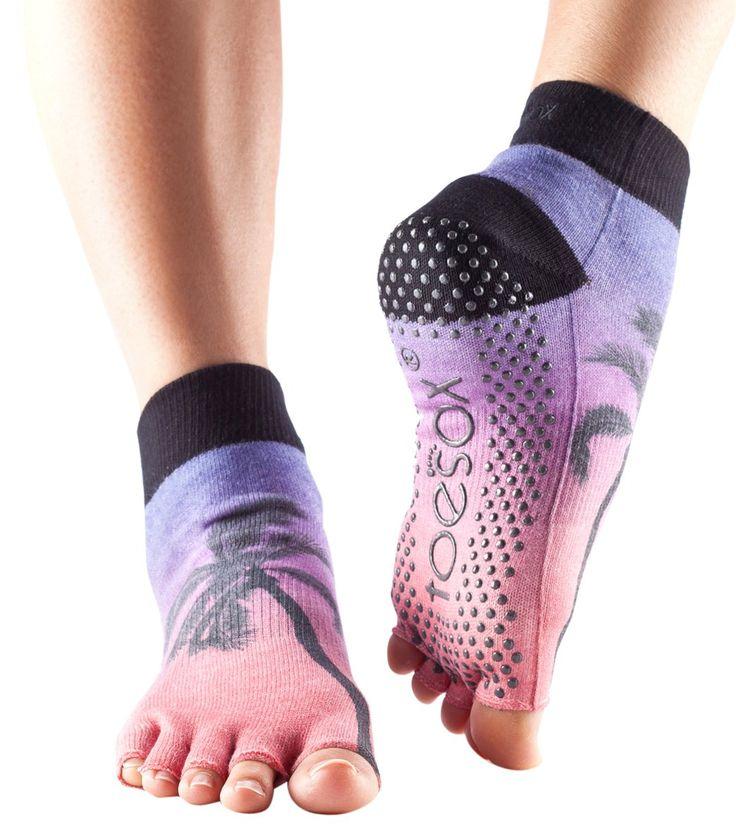 Toesox Ankle Length Half-Toe Yoga Grip Socks at YogaOutlet.com