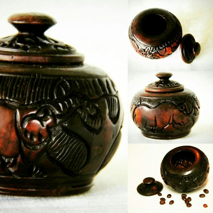 Hand crafted African ebony wood storage jar, perfect for sugar, coffee, tea bags or spices! Find us on Etsy at: https://www.etsy.com/uk/shop/BeautifulAfrican