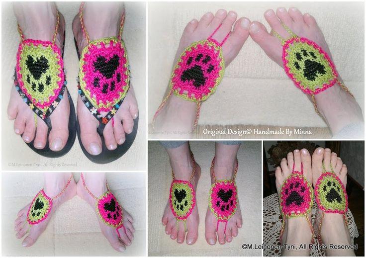 Crochet Barefoot sandals, tassu-varpaiset Original Design© Handmade By Minna
