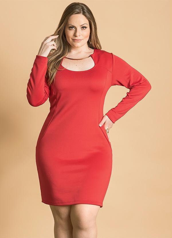 Vestido Tubinho (Vermelho) Decotado Plus Size