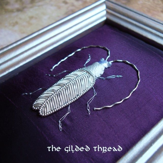 Silverwork Embroidery Beetle
