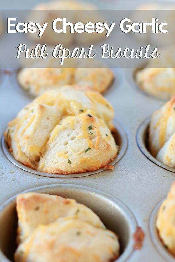 Easy Cheesy Garlic Pull Apart Biscuits using Pillsbury Grand Buttermilk Biscuits