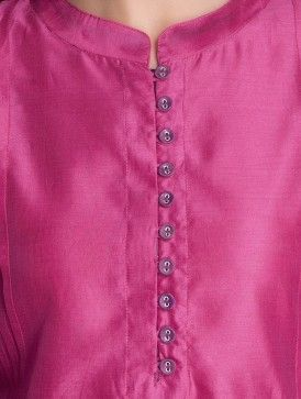 Pink-Purple Chanderi Kurta by Jaypore