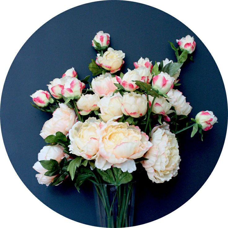 Wildly over the top luxury faux peonies in rose-tipped apricot, from Natural History  http://natural-history.myshopify.com/collections/flowers