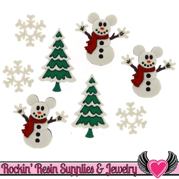 Disney MICKEY MOUSE SNOWMEN Christmas Tree & Snowflakes Licensed Buttons