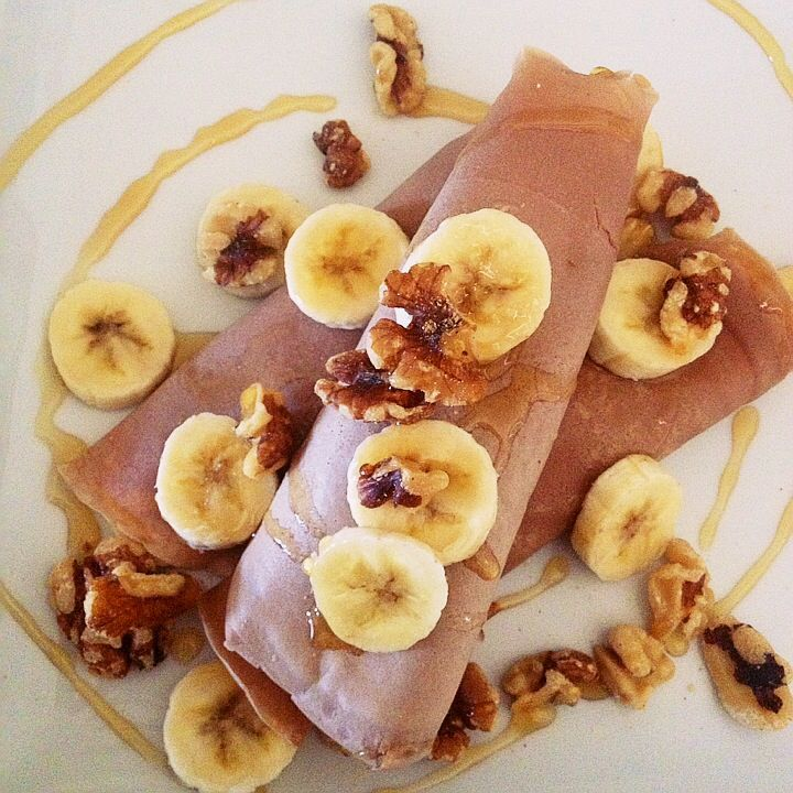 ... crepes with peanut butter yogurt filling, bananas, walnuts, and honey