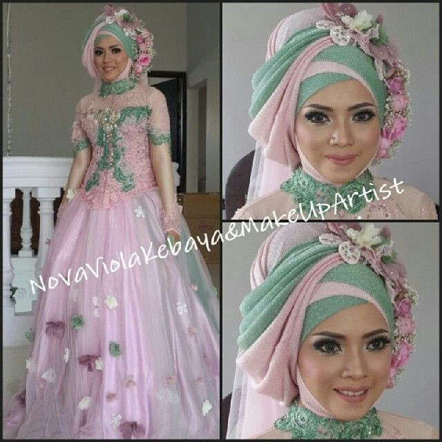 Pink mint gown #hijab #bride #indonesia #kebaya  @novaviola