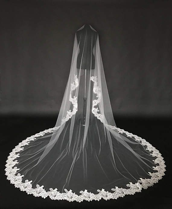 Cathedral Lace Veil Alencon lace bridal veil Drop veil Wide