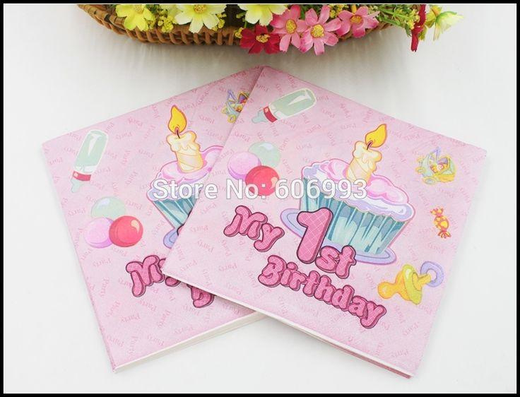 [RainLoong] Мой 1-ый День Рождения Бумажную Салфетку Для Девочки Праздничные и Para Festas Ткани Украшение Servilleta 33 см * 33 см 20 шт./упак./lot