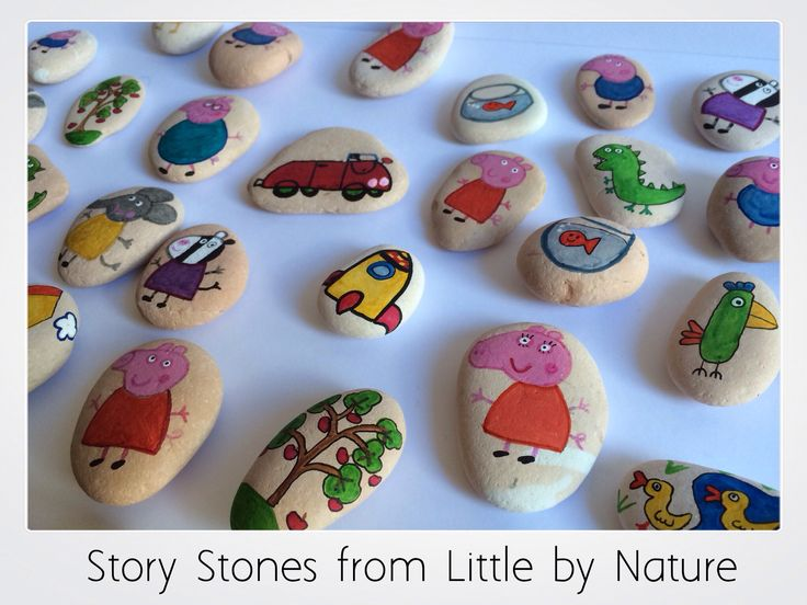Peppa pig story stones. Hand painted by me at Little by Nature. www.littlebynature.com.au
