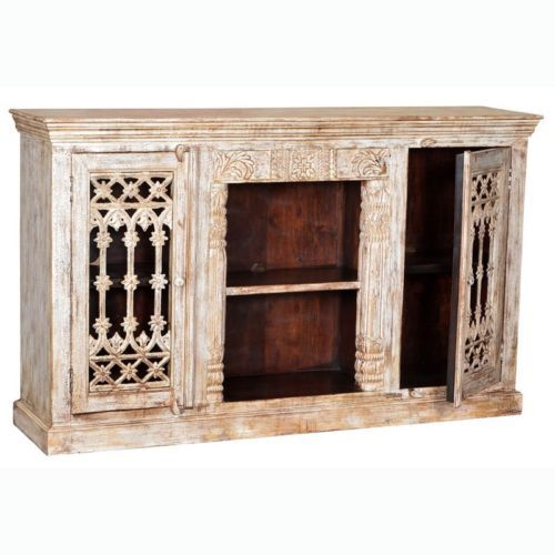"71"" Hand Carved Mango Wood Glass Display Cabinet Antique White Distressed Rustic- $1,447.00"